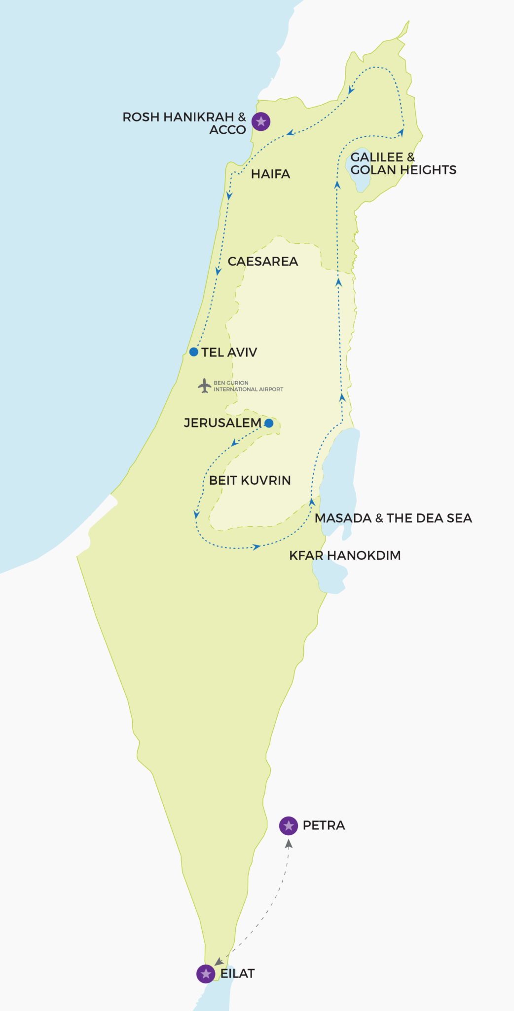 Map of Israel Travel Itinerary
