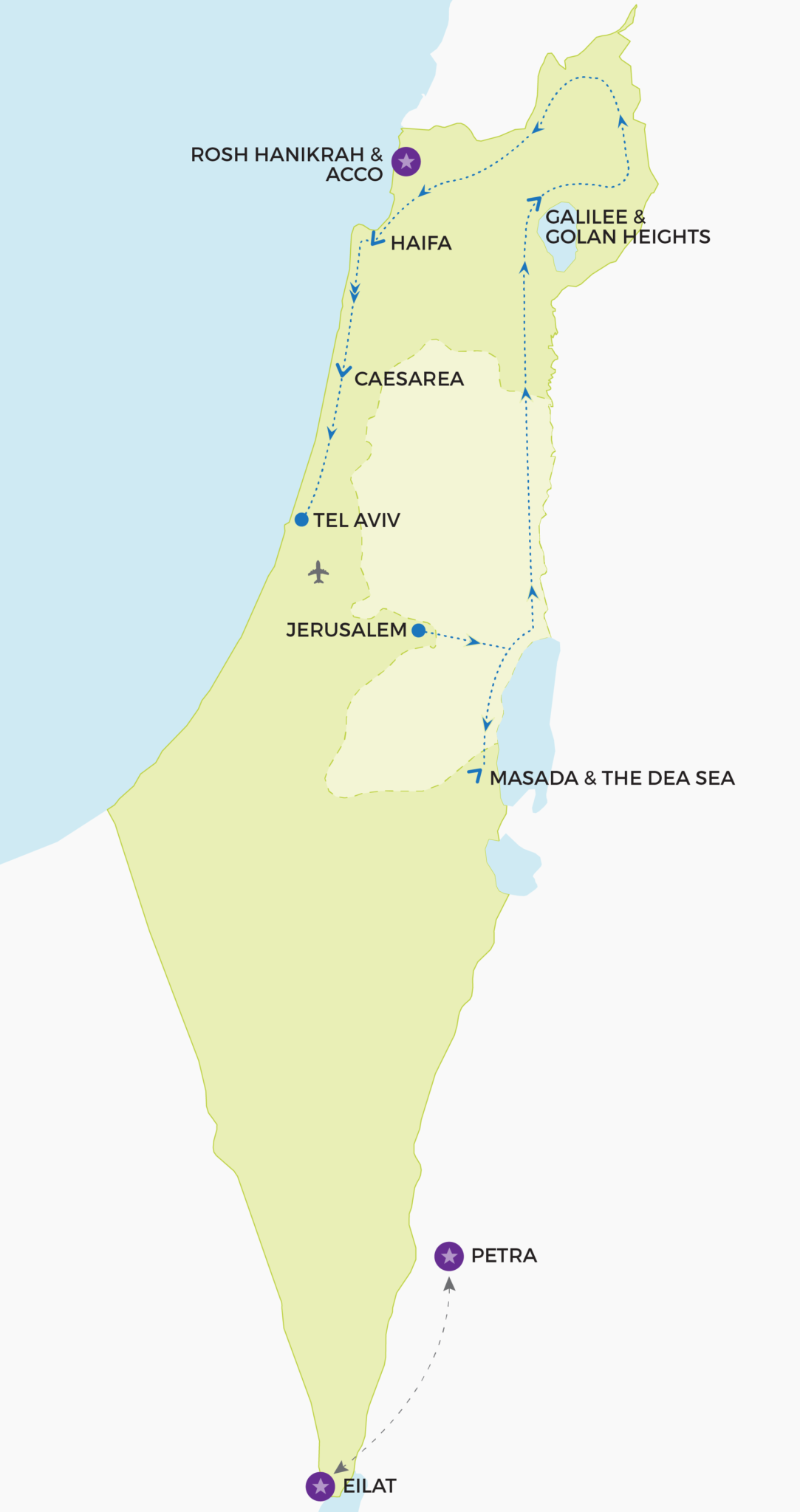 My Turn in Israel | Tours designed for active adults Printable Map Of Israel Today on